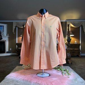 Ralph Lauren Orange & White Striped Shirt Size Med